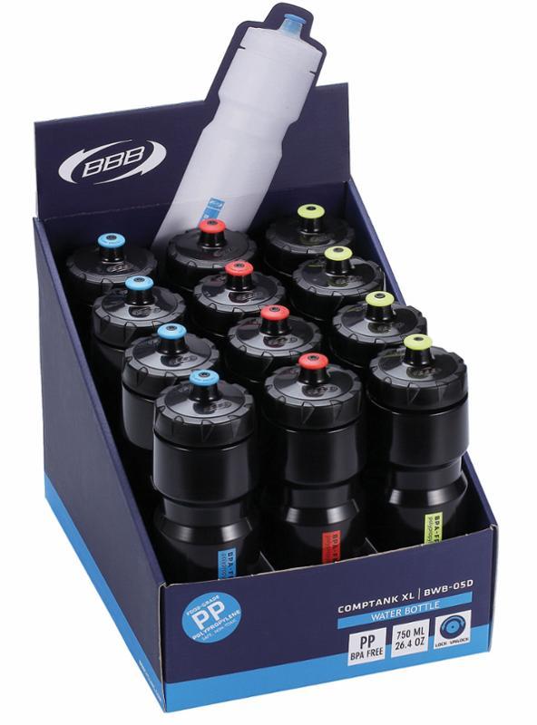 BBB CompTank XL Trinkflasche BWB-05D 750 ml, sortiert 12-er Display